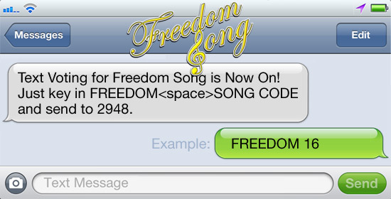 Text Voting for Freedom Song is Now On!
